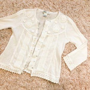 Vintage Kikit White Embroidered Button-Up Cardigan